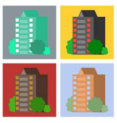 set of modern multi-storey building with a vector image