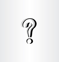 stylized question mark icon logo black symbol vector image