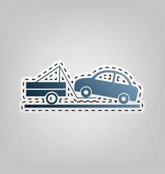 Tow truck sign blue icon with outline for vector