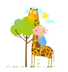 Little boy hugging a giraffe childish friendship vector