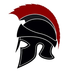 Silhouette greek helmet with a red crest vector