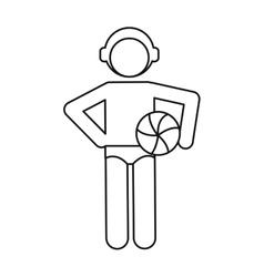 Water polo player ball cap outline vector