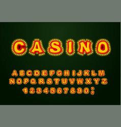 Casino font glowing lamp letters retro alphabet vector