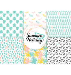 Summer trendy seamless patterns vector