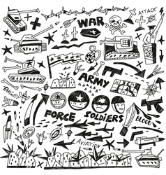 War - doodles collection vector