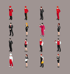 hospitality staff characters collection vector image
