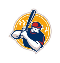 Baseball batter hitter batting side retro vector