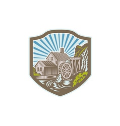 Watermill house shield retro vector