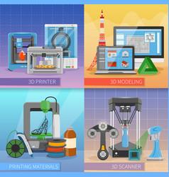 3d printing 2x2 design concept vector
