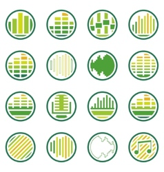 Sound or music round icons set vector