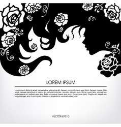 Silhouette of a girl with flowing hair with buds vector