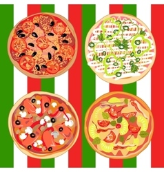 Set pizza on the table with italian flag vector