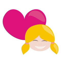 laughing blond girl with pink heart vector image