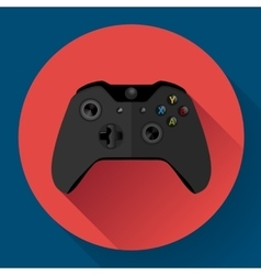 Black wireless game controller flat icon with long vector