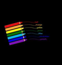 Color pencils of rainbow colors vector