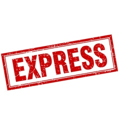 Express red square grunge stamp on white vector