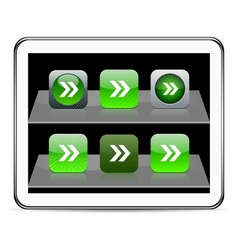 Forward arrow green app icons vector
