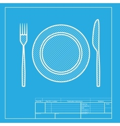 Fork tape and knife sign white section of icon vector
