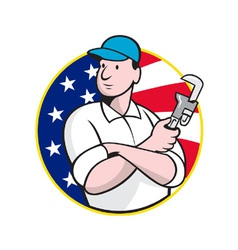 American plumber worker with adjustable wrench vector
