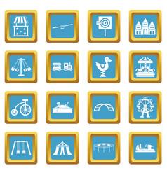 amusement park icons azure vector image vector image