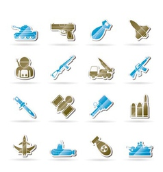 army and arms icons vector image vector image