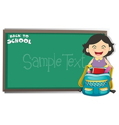 Back to school sign with girl and bag vector