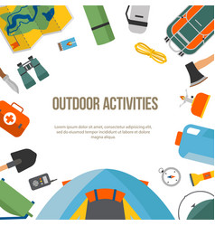 Banner round camping and tourism on an outdoor vector