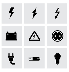black electricity icon set vector image