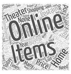 Buying home theater systems online word cloud vector