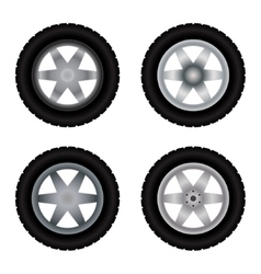Car wheels different colors vector