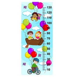 Children in sky on bicycle boat flying on balloons vector