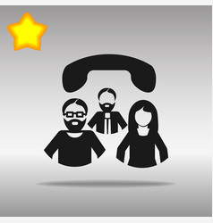 Conference call black icon button logo vector