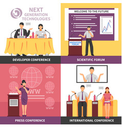 Conference hall interior icon set vector