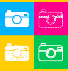 Digital photo camera sign four styles of icon on vector