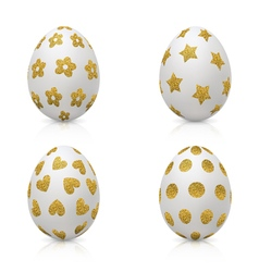 Easter eggs decorated with gold pattern vector