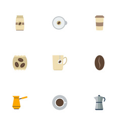 flat icons arabica bean package latte seed pack vector image vector image
