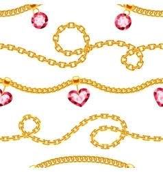 Golden chains with gemstones jewels vector image