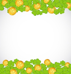 Greeting background with shamrocks and golden vector image vector image