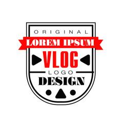 Interesting logo template for internet vlog vector