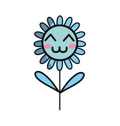 Kawaii happy flower plant with leaves and petals vector