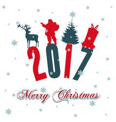 merry christmas santa claus riding a christmas vector image vector image