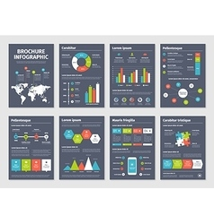 Modern dark business infographic brochure template vector image