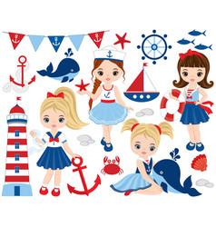 nautical cute little girls vector image