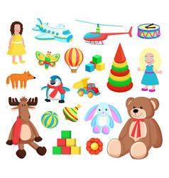 playthings at factory set vector image