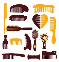 set of combs on a white background vector image vector image