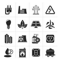 Silhouette power energy and electricity icons vector image vector image