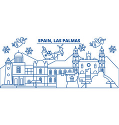 Spain las palmas winter city skyline merry vector