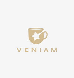 star cup logotype beverage drink negative vector image