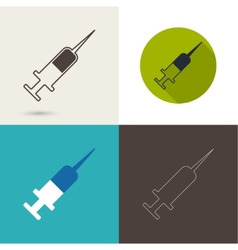 Symbol of needle and syringe for vaccination vector image