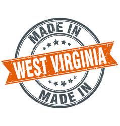 West virginia orange grunge ribbon stamp on white vector